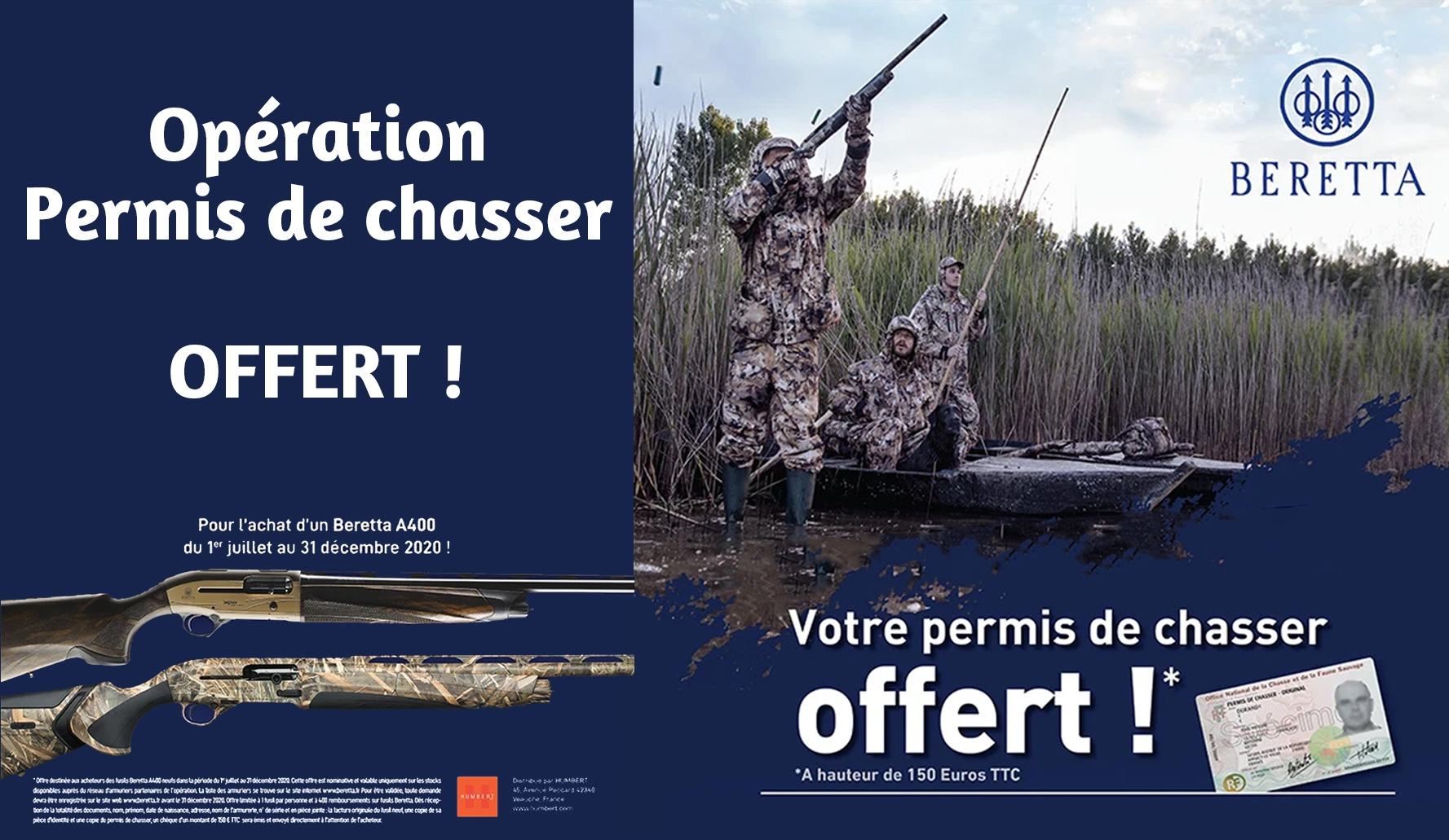 permis de chasse offert pour l'achat d'un beretta A400